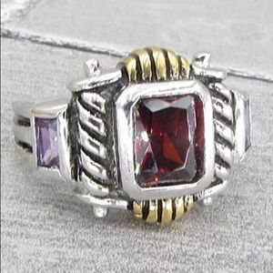 Jewelry - Sterling silver garnet and amethyst ring